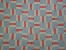 Unfinished Quilt Top -Blue Flowered Blocks, with Pink & White Lines approx 76x81