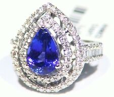 4.68CT 14K Gold Natural Tanzanite Cut White Diamond Vintage AAA Engagement Ring
