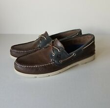 Sperry Top-Sider Leeward X-Lace Navy Brown Boat Deck Shoes US Size 9.5 M