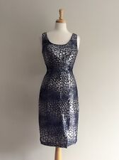 French Connection Stunning Sequinned Party Dress Navy/Silver UK 8 Brand New