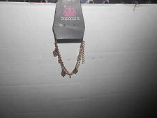 """Paparazzi Bracelet (new) DOUBLE GOLD STRAND W/LEAVES & TINT """"CRYSTALS"""""""