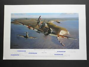 SPITFIRES OVER THE NEEDLES Philip West LE 4/50 Artists proof print signed x5 RAF