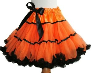 Girls Pettiskirt Tutu Halloween Orange and Black Dance Frilly Twirl Fancy Dress