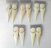 Vintage Inverted Triangle Long Dangly Earrings - Clip-on By Request - SECONDS