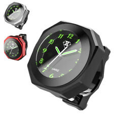 Black CNC Motorcycle Handlebar Clock Analogue Dial Watch Waterproof Night View