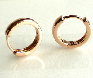 Unisex Small Thin Hoop Huggie Earrings 13.5x3mm Rose Gold Plated Snap Close UK