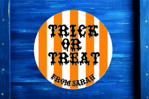 Halloween Trick or Treat Round Sticker Label, Gift Bag, Seal, Sweet Cone