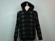 St. John's Bay Men's Checked Full Zip Fleece Hoodie Drawstring Hood Size L