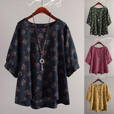 ZANZEA Femme Casual Floral Chauve-souris  Tops Hauts Chemises T-shirts Plus