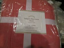 Pottery Barn Belgian Linen King DUVET COVER + 2 Euro shams dessert rose New