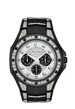 Bulova Men's 98C102 Quartz Swarovski Crystal Accents Black Bracelet 47mm Watch