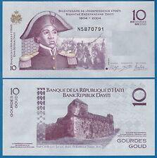 Haiti 10 Gourdes P 272 f COMMEMORATIVE new date 2014 and sign UNC 1804 - 2004