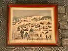 "Grandma Moses Framed Litho Print ""Winter Twilight"" Donald Art Company c1950s"