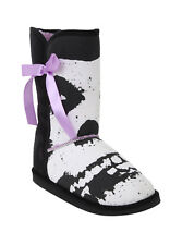 * NEW IRON FIST MISFITS FUGLY LADIES BLACK SKULL PRINT BOW CALF BOOTS*