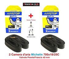 "2 Camera d'aria MICHELIN 700x18/25C Valvola Presta 40mm per Bici 28"" City Bike"