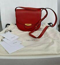 Celine Trotteur Small Terra Cotta Calfskin Leather Crossbody Handbag