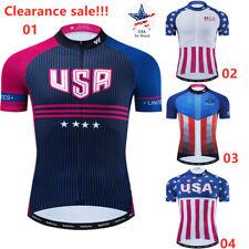 Men's Cycling Jerseys Tops Clothing USA Flag Bike Team Short Sleeve Jersey Shirt