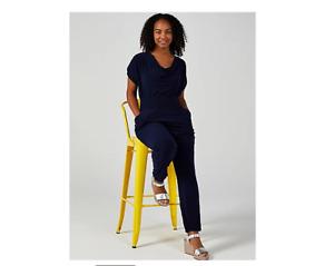 Nina Leonard Harem Leg Jumpsuit with Pockets Navy Size XL BNWT