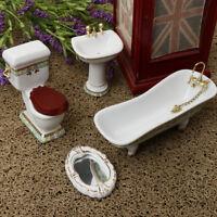 4pcs Miniature White Ceramic Bathroom Model Set for 1/12 Dollhouse Room #1