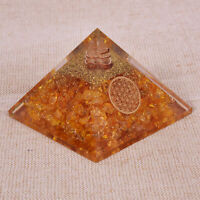 X-LG Citrine Stone Orgone Orgonite Pyramid Healing Interpersonal Relationship