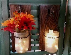 Pair of Rustic Authentic Barn Wood Mason Jar Sconces