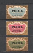 """Made in Sweden """"Petite"""" Set of 3 Vintage Matchbox Labels"""