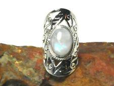 Fiery Oval  MOONSTONE  Sterling  Silver  925  Gemstone  Ring  - (N)
