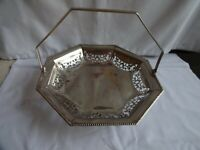 Vintage silver plated fretwork Octagonal Cake/Bread Basket Swing Handle 23 cm