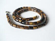 Collier sautoir (52 cm) oeil de tigre (perles 7*6 mm) naturel - pierre véritable