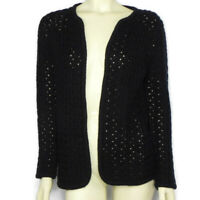 Vintage Lilly of California Womens S Black Cardigan Wavy Cable Knit Open Front