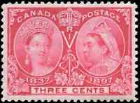 Canada #53 mint VF OG NH 1897 Queen Victoria 3c bright rose Jubilee CV$120.00