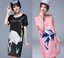 Animal Print Tunic Casual Dresses for Women