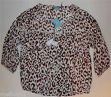 NWT $188 Laterte Cheetah Print Tessel 3/4 Sleeve Poet Top Size L