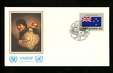 UN United Nations FDC NY #477 UNICEF Cachet Flag Series New Zealand 1986