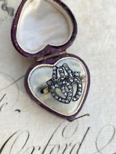 Antique Early Victorian Rose Cut Diamond Crowned Heart Ring 18k/Silver
