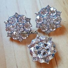 2pcs Flower Clear Crystal Rhinestone Diamante Shank Sew on Buttons 21mm