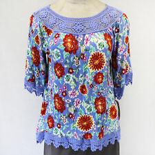 NEW Eyeshadow Plus Size Peasant Floral Printed Blue Lace Yoke Strech Blouse 1X