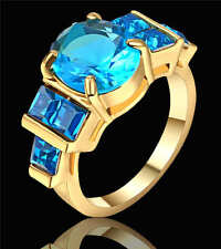 Size 9 Women's Oval Blue Aquamarine Wedding Ring 18K yellow Gold Filled jewelry