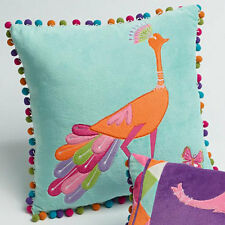 Jiggle and Giggle Peacock Princess Embroidered Square Filled Cushion