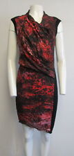 HELMUT LANG black red abstract print draped asymmetric cap sleeve dress sz 6