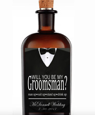 Set of 4 Will You Be My Groomsman Best Man Tuxedo Whiskey Label Wedding Party