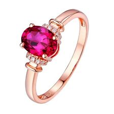 6x8mm Oval Cut Solid 14kt 585 Rose Gold Natural Diamond Ruby Ring