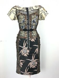 Anthropologie Beguile By Byron Lars Embroidered Brocade Fitted Dress US4 UK8