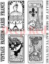 Deep Red Rubber Cling Stamp Paris France Fashion Ticket Set