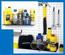 "WallPeg Metal Shelves mount to wall or pegboard panel - garage storage 16"" wide"