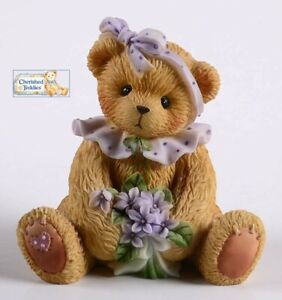 RARE! CHERISHED TEDDIES 2001 FIGURINE, VIOLET, FAITHFULNESS, VIRTUE, 726222, NIB