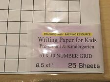 Writing Paper for Kids - 10 X 10 Grid Paper - 11X 8.5 in, 20 lb, 25 sheets
