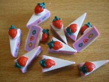 Rebanadas de pastel Strawbs Fimo Cabujones Kitsch vendedor del Reino Unido de alimentos x10 16mm C128