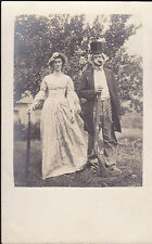 Man w Gun & Fake Beard Posing RPPC Postcard Woman w Umbrella