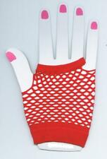 SEXY- SHORT FISHNET FINGERLESS GLOVES IN RED COLOUR.